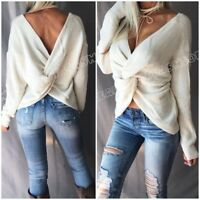 Women's Twist Detail Off Shoulder Relaxed Knit Chunky Oversized Pullover Sweater