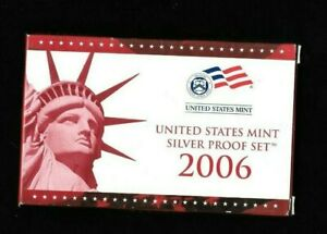 2006-S UNITED STATES 10 PIECE SILVER PROOF SET INCLUDING 5 STATE QUARTERS.