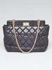 Chanel Black 2.55 Reissue Quilted Calfskin Leather Grand Shopping Tote Bag
