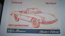 Alfa Romeo Spider Owner's Manual - 1982 -  PDF Version