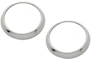 48-54 Chevy/GMC Truck Headlamp Bezels Rings Polished Stainless w/ Clips (Pair)