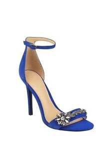 $105 Guess Women's Partyer Ankle Strap Heels Dark Blue Faux Suede Size 8.5