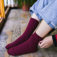 6 Pairs Bling Revers Women's Cashmere Wool Thick Warm Soft Solid Casual Socks