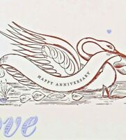 Happy Anniversary Greeting Card UNUSED Swan Banner Letterpress Love hellolucky