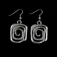 "Rectangle Spiral Open Earrings Antiqued Silver Plated  1"" x 1 1/4""  Hook"