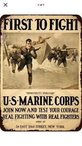 "TIN SIGN ""Marine Corps"" Freedom Army America Patriots Freedom Mancave USA"