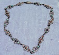 VINTAGE SUPERB MEXICAN STERLING SILVER NECKLACE WITH CORAL, AMETHYST & TURQUOISE