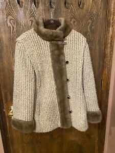 Vintage 60's Country Pacer knit sweater coat fur trimmed
