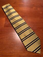 "vtg Brooks Brothers Euc Gold Navy Blue Horizontal Stripe Silk Tie 56"" 3.75"""