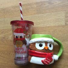 OWL COFFEE CUP MUG PLASTIC TAZA CHRISTMAS OWLS LOT 3D 3-D CERAMIC BIRD SANTA HTF