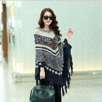 Women's Shawl Poncho Wrap Winter Sweater Cape Pullover Crochet Knit Poncho Coat