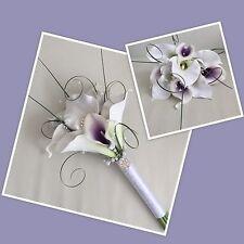 ARTIFICIAL WHITE PURPLE FOAM CALLA LILY WEDDING FLOWER BRIDESMAID BOUQUET BROOCH