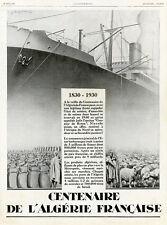 """""""CENTENAIRE ALGERIE FRANCAISE""""Annonce originale entoilée ILLUSTRATION 15/6/1929"""