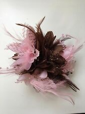 Brown and Baby Pink Fascinator on Clip Pin Hairband Feathers Laces Beads