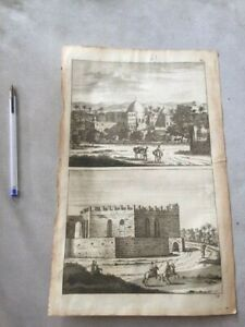 1699 PALESTINE PALASTINA ANTIQUE ENGRAVING Middle East Copper Print 1699 ! WOW !