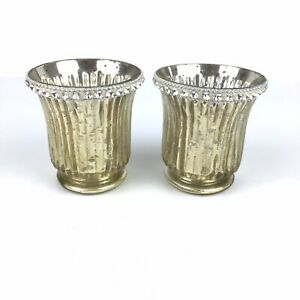 Mercury Glass Set of 2 Crystal Rimmed Silver Glam Tealight Votive Candle Holders