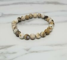 Sterling Silver Frosted Wood Jasper Stone Men's Bracelet