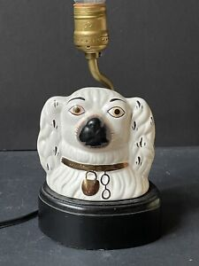 Rare Vintage DOG Antique CERAMIC Figure Staffordshire Style SMALL TABLE LAMP