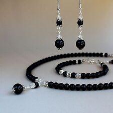 Black pearl crystal collar necklace bracelet earrings wedding jewellery set