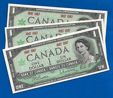 3 CANADA 1867 1967 Canadian CENTENNIAL one 1 DOLLAR BILLS NOTES UNC