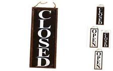 Vintage Style Wooden Business Open Closed Door Sign