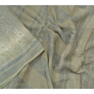 Sanskriti Vintage Grey Sarees 100% Pure Silk Printed Sari Craft Sewing Fabric