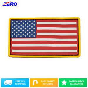 """Color USA Flag Patch PVC Rubber 3.4""""x 2.0"""" Hook Fastener United States America"""
