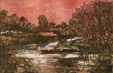 MARGARET E. Z. LEVINSON Signed Aquatint Etching THE OLD PUNT - 20TH CENTURY
