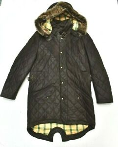 Sterling Leathers of England Quilted Parka Jacket Coat in Dark Brown Large L