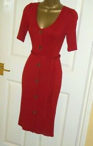 Stretchy warm ribbed cardi cardigan jumper wiggle tie dress size 16 party or day