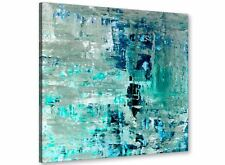 Turquoise Teal Abstract Painting Wall Art Print Canvas - 49cm Square - 1s333s
