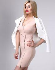 Elegant Formal Pencil Bodycon Wiggle Cocktail Sleeveless Zip Stretch dress M