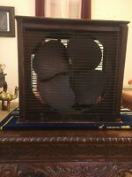 Vintage Emerson electric wooden Box Fan mahogany and brass  original works Rare