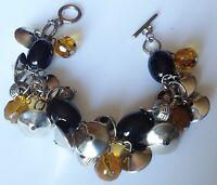 bracelet bijou rétro perle déco noir ambre couleur argent pampille  490
