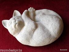 Stucco - Figura de jardín dormido Gatito Gato de hormigón 150-101b muy dulce