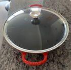 Le Creuset France Cast Iron Wok w/Glass Lid Cherry Red 5.25 Quart