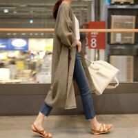 Lady Long Loose Linen Coat Jacket Outerwear Top Casual Cardigan Baggy Retro Chic