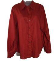 Lauren Ralph Lauren Long Shirt Sleeve Red Linen Button Front Women's Size Large