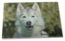 Siberian Husky Dog 'Yours Forever' Extra Large Toughened Glass Cutti, AD-H1yGCBL