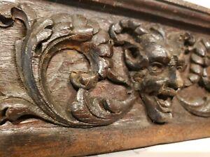 antique Walnut ornate wooden wood pediment carved Devil face lucifer