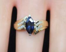 *NICE* Vintage Estate 14K Gold Ladies 1.16 CTW Marquise Sapphire & Diamond Ring