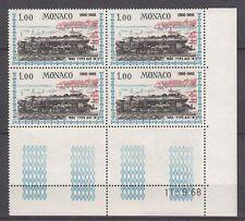 TIMBRE BLOC DE 4 COIN DATE  MONACO NEUF N° 756 **  LOCOMOTIVES PLM A241 1932