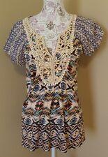 One World live and let live women's top size medium embellished boho