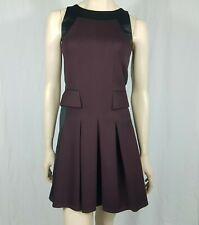The Kooples Neoprene Jersey Black Maroon Pleated A Line Dress Angora Size 10 38