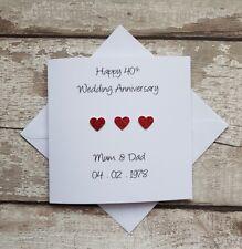 Personalised 40th Wedding Anniversary card handmade for Ruby anniversary