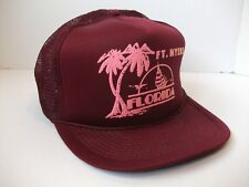 Ft Myers Florida Sail Boat Palm Tree Hat VTG Burgundy Snapback Rope Trucker Cap
