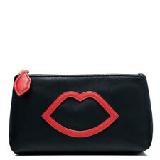 Limited Edition Lulu Guinness Makeup Bag or Evening Clutch Black with Red Lips