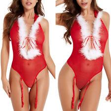Christmas Underwears Womens Sexy Lingerie Red Babydoll Xmas Sleepwears Costumes
