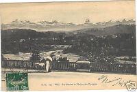 64 - cpa - PAU - La gare et la chaîne des Pyrénées