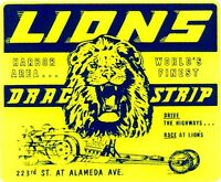 Lions Drag Strip 1970's Vintage Hot Rat Rod Drag Racing Decal Sticker